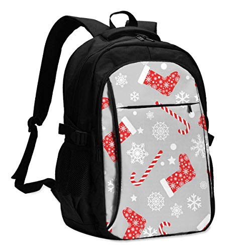 XCNGG Laptop Backpacks Tactical Seamless Pattern with Red and White Christmas Stocking Socks Office & School Supplies with USB Data Cable and Music Jack Laptop Bags Computer Notebook 18.1X13.3 inch