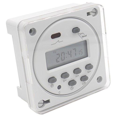 Heschen Digitaler LCD-Timer, programmierbar, CN101A, DC 12 V, 16 A, SPST mit wasserdichter Abdeckung, Weiß
