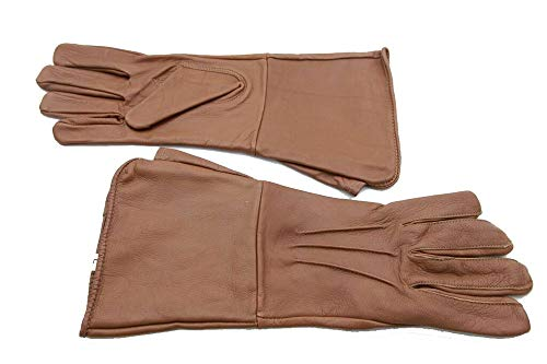 Medieval Gauntlet leather cosplay gloves long arm cuff (Saddle Brown, Small)