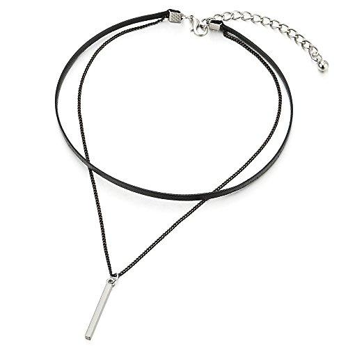 COOLSTEELANDBEYOND Dos Filas Negro Trenzado Cuero Collar de Gargantilla Choker Collar de Mujer, Cadena y Rectangular Charm Colgante