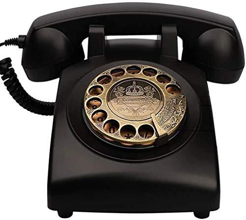 AWAING Telefonos Antiguos Vintage Teléfono clásico clásico con dial Giratorio, cordón de Tela y Tono de Timbre Tradicional - Acabado en Metal Negro
