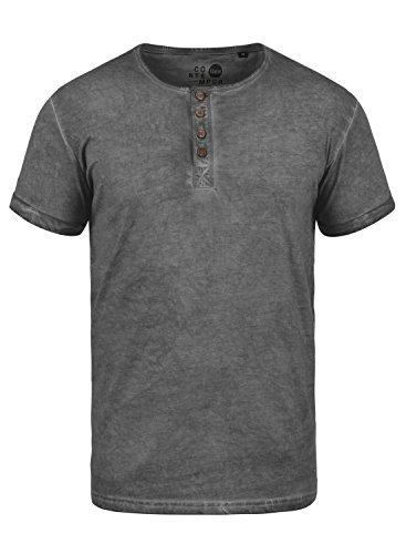 !Solid Tihn Camiseta Básica De Manga Corta T-Shirt para Hombre con Cuello Grandad De 100% algodón, tamaño:XL, Color:Dark Grey (2890)