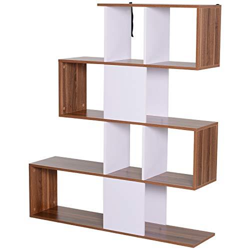 HOMCOM Libreria in Pannelli di Particelle Mobili Ufficio Scaffale 144 x 30 x 124.5cm Bianco e Noce