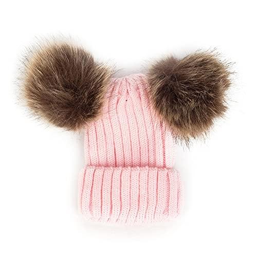 Niños Invierno Infantil Recién Nacido Niños Bebé Gorro de Punto de Lana Gorro con Dos Gorro de pompón Doble para niños Lindos Niña 1-3 años-0-4Y Pink 1-One Size