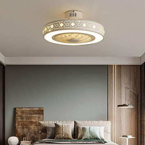 Wangkangyi - Ventilador de techo (220 V, 55 cm, 3 marchas, LED, con mando a distancia, ventilador, lámpara de techo, lámpara de techo, lámpara de techo, regulable, luz de techo