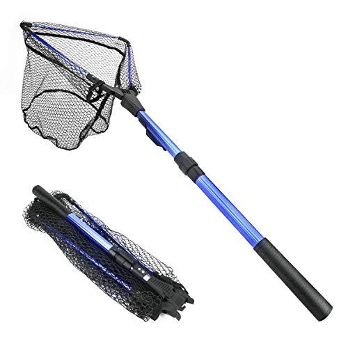 Powcan Kescher Angeln, Fliegen-Fischen-Dreieck Brail Kescher Bewegliche Kescher Netz, Angelkescher, Faltbare Leichte Net Nylon Fischernetz Aluminium Rahmen (Blau)