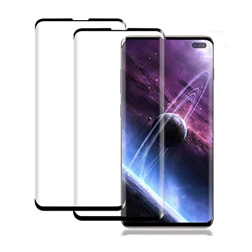 (2 Pack) Galaxy S10 Plus Screen Protector, HD Tempered Glass Screen Protector ScratchProof/No Bubbles/ 9H Hardness/ 3D Curved Glass Compatible with Samsung Galaxy S10 Plus/ S10+ 5G