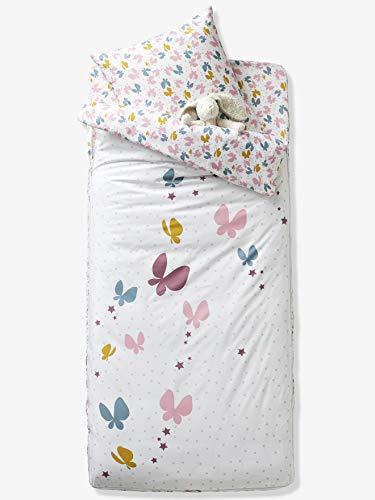 Vertbaudet 3-teiliges Schlafsack-Set Schmetterlinge wollweiß 90X190