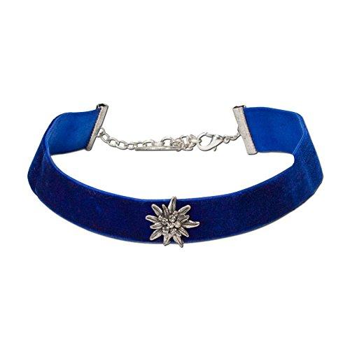 Alpenflüstern Trachten-Samt-Kropfband breit Strass-Edelweiß - Trachtenkette enganliegend, Kropfkette elastisch, Damen-Trachtenschmuck, Samtkropfband blau DHK109