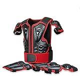 Chaquetas de Moto Traje de ProteccióN para NiñOs Armor Gear Traje de Armadura de Espalda en el Pecho Motocicleta Chaleco de Cuerpo para La Columna Vertebral de Los NiñOs,Rojo