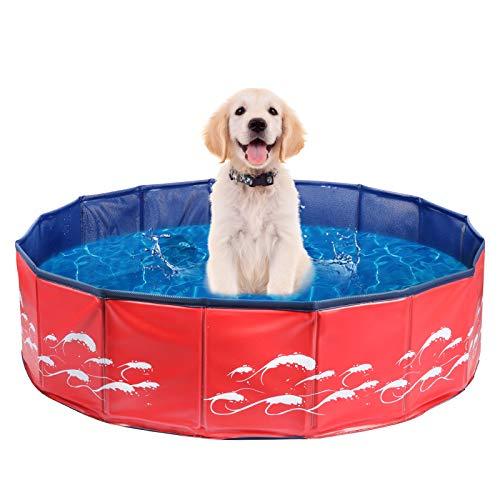 Delicacy Hundepool Schwimmbad für Hunde, Doggy Pool Swimmingpool Faltbares Pool Für Kinder Hunde und Katzen Planschbecken Hundepool PVC Rutschfest Hundebadewanne 80x20cm Wellenmuster Aktualisieren Rot