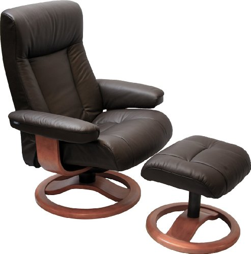 ScanSit 110 Havana Leather Recliner Norwegian Ergonomic Scandinavian Lounge Reclining Chair