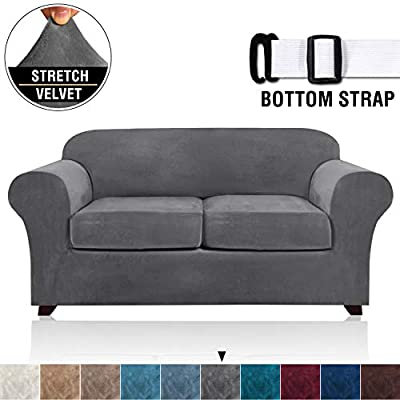 Velvet Stretch 3 Piece Loveseat Covers for 2 Cushion Couch Loveseat Slipcovers (Base Cover and 2 Individual Seat Cushion Covers) Thick Sofa Covers with Two Elastic Straps (Loveseat, Grey)