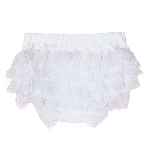 XXYsm Baby Mädchen Schichten Spitzen Trainerhosen Unterwäsche Höschen Solide Lace Kleid Rüsche Hose Pumphose Windel Decken (Weiß, 6-12 Monate)