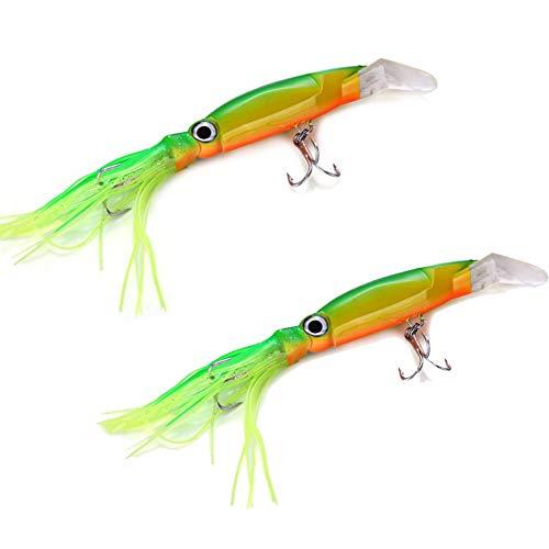 2 PCS Senuelos de Pesca Artificial, Cebos para Pesca, Cebo Duro, Ganchos de Pesca,14cm señuelos de Pesca / 40g de Buceo Cebo Duro cebos Falsos Hook Tackle