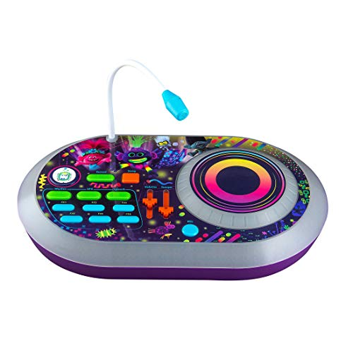 eKids Trolls World Tour DJ Trollex Party Mixer Turntable Toy for Kids Toddler Children, Built in Microphone, Record, Sound Effects, LED Light Show