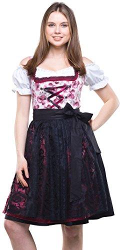 Bavarian Clothes Dirndl Damen Weinrot Schwarz Set 3 TLG '8020' Midi Dirndl mit Dirndlbluse und Schwarzer Spitzen-Dirndlschürze (Größe 38)