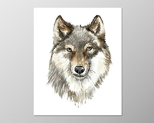 Wolf art (8x10) #A090. Wolfe face art. Wolf poster. Art print. Woodland animal.Forest.wolf painting.Watercolor.