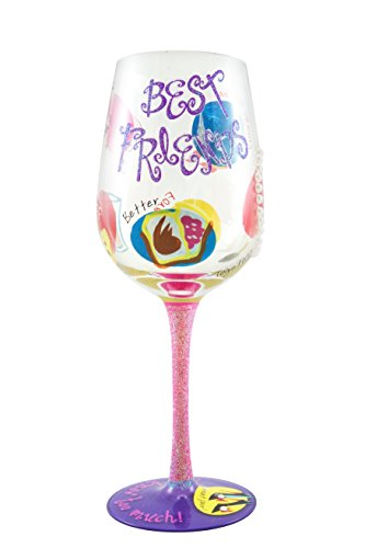 Top Shelf Best Friend Wine Glass - Unique Gift for Her - Hand Painted