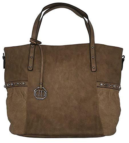 Dudlin Shopper Tasche Nieten seitlich Handtasche Shopperbag (taupe)