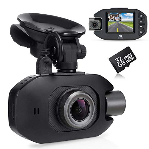 Z-Edge GPS Dashcam Dual Autokamera Full HD 1080P 2,0 Zoll LCD Bildschirm, Infrarot Nachtsicht, Superkondensator, Loop-Aufnahme, WDR, G-Sensor, Bewegungserkennung inkl. 32GB MicroSD Karte