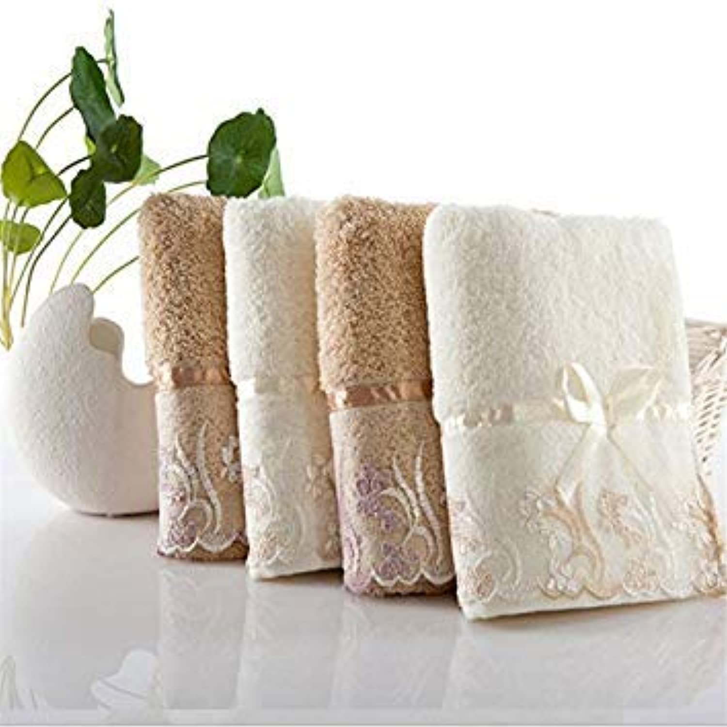 Coffee, 34x72 70x138 34x34   3pcs Set 100% Cotton Absorbent Bath Towel Classic Lace Embroidery Face Towel Antibacterial Soft Comfortable Washcloth Set