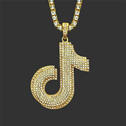 Iced Out Musical Note Necklace Pendant Pave Full Rhinestone Hip Hop Treble Clef Music Jewelry For Men Women Gift 50cm