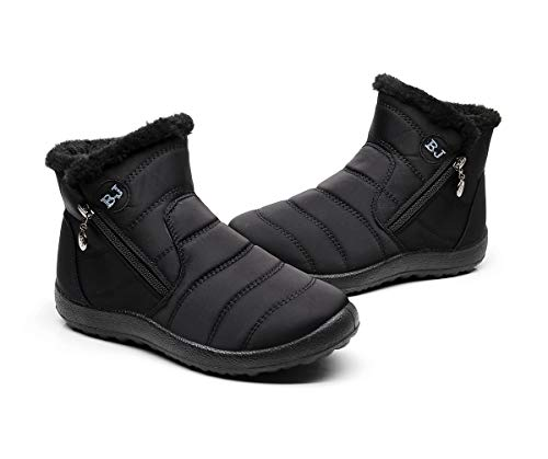 Damen Schneestiefel,Popoti Winterschuhe Erwachsene Ankle Boots Gefüttert Winterstiefel Kurzschaft Boots Stiefel Casual Outdoor Zipper Winter Warm Schuhe (Schwarz-1, 41)