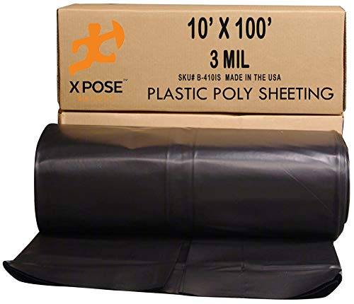 Black Poly Sheeting - 10 x 100 Feet Heavy Duty, 3 Mil Thick Black Plastic Tarp Waterproof Vapor and Dust Protective Equipment Cover - Agricultural, Construction and Industrial Use - by Xpose Safety