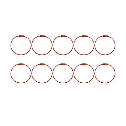 Exceart 10 Stück Metalldraht Schlüsselanhänger Metalldrahtschlaufe Schlüsselanhänger Kabel Schlüsselringe Kabelschlaufenringe zum Aufhängen von Gepäckanhänger ID-Tag Kaffee