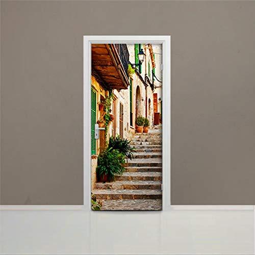 Vinilo adhesivo para puerta con diseño de callejón de España en 3D Steps - Adhesivo para puerta extraíble y pegar para cubrir la puerta de la aldea de Mallorca, 30 x 79 pulgadas oq207
