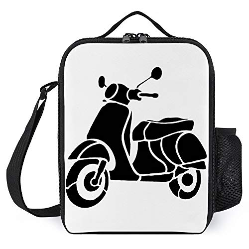 Portable Thermal Insulated Lunch Bag with Shoulder Strap,Tote bag,Lunchbox Food Container,Meal Pack,Heat Preservation Bag,- Waterproof Reusable For Unisex Adult Kid-Vespa Scooter Silhouette Vehicle Tr