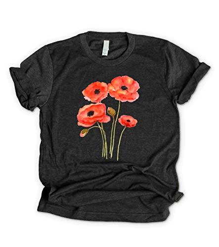 Camiseta - Flor Amapola - T-Shirt de Algodón, Manga Corta, S M L XL XXL Tallas Grandes Blanco Gris Negro | Gráfico Floral Top Mujer Hombre Chicas Adolescentes, Ropa Regalo Yoga Pilates Deportes