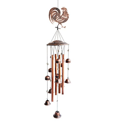 BLESSEDLAND Metal Rooster Wind Chimes-4 Hollow Aluminum Tubes -Wind Bells and Metal Rooster-Wind Chime with S Hook for Indoor and Outdoor