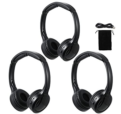 IR Headphones for Car DVD,3 Pack of Wireless Car Headphones,2 Channel Kids Infrared Headphones for Universal Car Rear Entertainment System