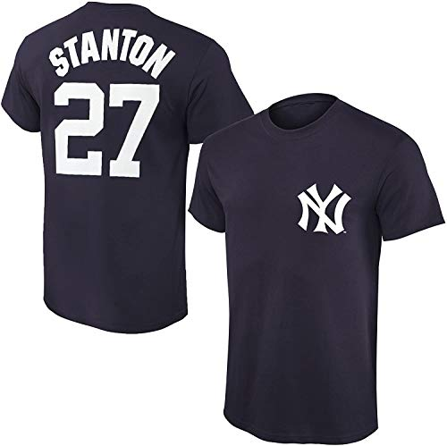 Outerstuff MLB Youth Performance Team Color Player Name and Number Jersey T-Shirt (X-Large 18/20, Giancarlo Stanton)