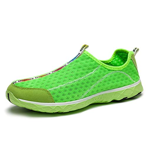 KENSBUY Men's Water Shoes Breathable Mesh Quick Drying Anti-Slip Walking Sneaker (8.5 M US Men, Green)