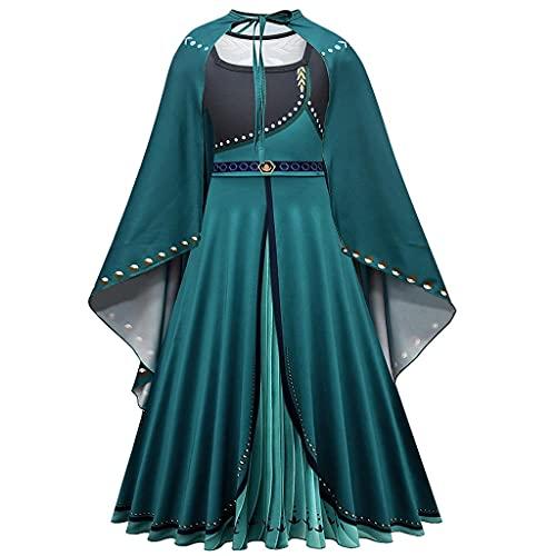Lito Angels Reine des Neiges Deguisement Robe de Reine Anna avec Cape pour Enfant Filles, Taille 7-8 ans, Vert, Manche Longue