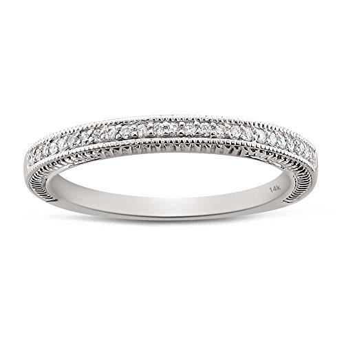 1/8 Carat Diamond, Vintage Style Prong Set 14K White Gold Round Diamond Milgrain Bridal Wedding Band Ring for Women Girls (H-I, I1-I2) Real Diamond Fine Jewelry | by La4ve Diamonds| Gift Box Included (0.125 Ct Diamond)