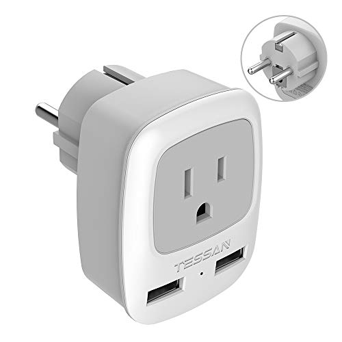 Schuko Germany France Travel Power Adapter, TESSAN European Plug with 2 USB, Outlet Adaptor Charger for USA to Europe EU Russia Iceland Spain Greece Norway Korea (Type E/F)