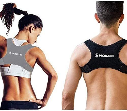 HOKITS Haltungskorrektur, Schulter- und Rückenhalterung, für Damen, gerade, Schulter, Herren, verstellbar, Unterstützung, Haltung, orthopädisch, orthopädisches Halsband (grau)