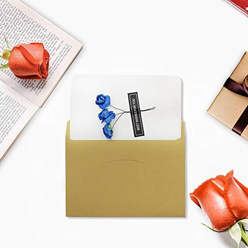 Dylan-EU 4 Grußkarte mit 4 Geschenk Umschlag Dankskarten Retro Einladungskarte mit Plastikblume Danken Ihnen Karten für Valentinstag Danksagung Geburtstag Muttertag - 4