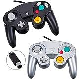 YFish Controladores para Gamecube&Wii, [2 Pack] Mando de Gamecube con Cable 1.4M Clásico Gamepad Joystick Gaming Juegos Controller de Vibración para Nintendo Wii U, Switch, Windows