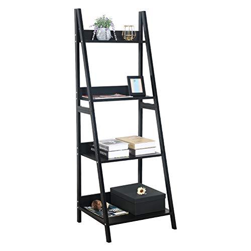 GreenForest Leiterregal mit 4 Etagen, Bücherregal, Metallrahmen, Bücherregal, Heimbüro, Lagerregal, Pflanzenständer, schwarz