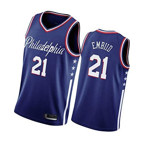 Joel Embiid Herren Basketball Trikot Philadelphia 76ers 21#, klassisch bestickte ärmellose Westen, 90er Jahre Hip Hop Kleidung für Party Gr. S, blau