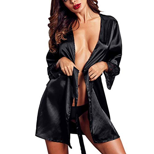 SIOPEW Morgenmantel Damen Leicht Sexy Seide Kimono Satin Dressing Kleid Bademantel Spitzen Dessous Frauen Ouvert Versuchung Erotik Nachthemd