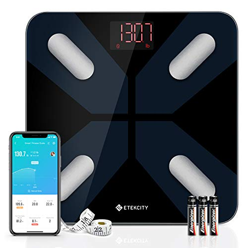 Etekcity Smart Scales for Body Weight, Digital Bathroom Weight Scale for Weight Loss, Wireless Bluetooth Body Fat Scale Tracking 13 Key Data with Smartphone Apps, Health Monitor, 400 lb