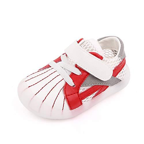 Cheerful Mario Zapatos para bebé Primeros Pasos Niñas Niños Zapatillas de Verano con Suela Blanda Rojo 22.5 EU