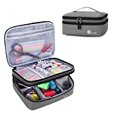 Luxja Double-Layer Sewing Supplies Organizer, Sewing Accessories Organizer for Needles, Thread, Scissors, Measuring Tape and Other Sewing Tools (Bag Only), Medium/Gray