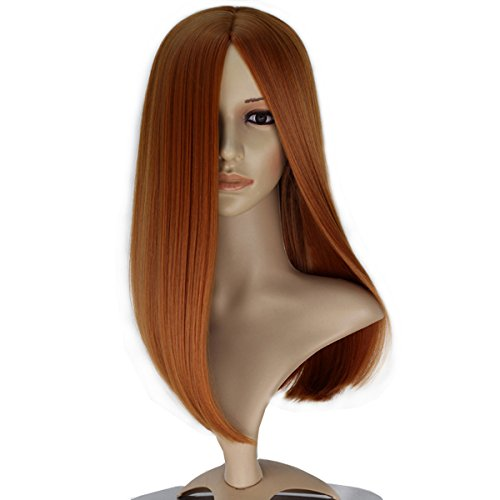 Women Girl Center Part Long Straight Hair Copper Brown Cosplay Costume...